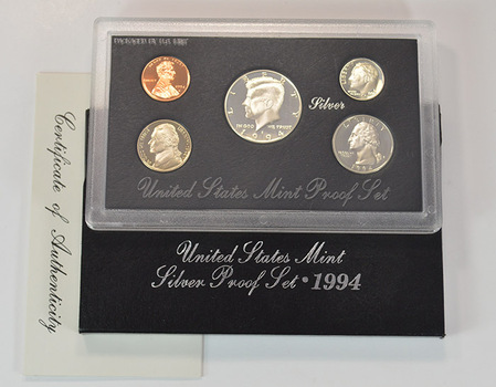 Silver 1994-S Deep Cameo U.S. Proof Set - 5 Coin Set - Includes 3 90% SILVER