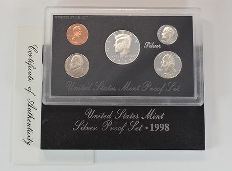 Silver 1998-S Deep Cameo U.S. Proof Set - 5 Coin Set - Includes 3 90% SILVER