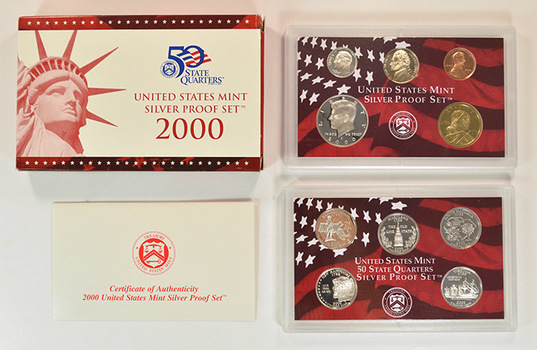 Silver 2000-S 10 Coin Deep Cameo U.S. Proof Set - Includes 5 State Quarters and Sacagawea Dollar