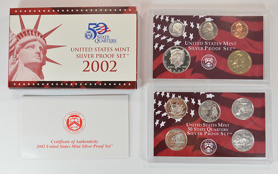 Silver 2002-S 10 Coin Deep Cameo U.S. Proof Set - Includes 5 State Quarters and Sacagawea Dollar