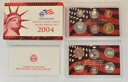 Silver 2004-S 11 Coin Deep Cameo U.S. Proof Set- Includes 5 State Quarters and Sacagawea Dollar