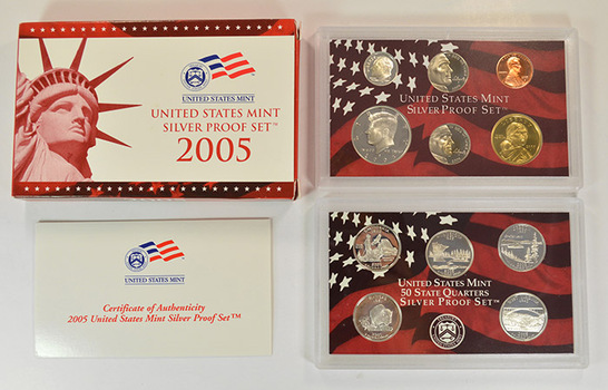 Silver 2005-S 11 Coin Deep Cameo U.S. Proof Set- included 5 State Quarters and Sacagawea Dollar