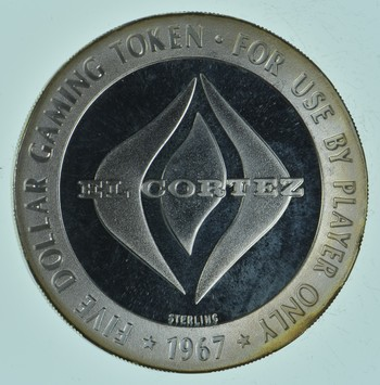 SILVER Collectible $5.00 El Cortez Casino Souvenir Chip 41 Grams Round
