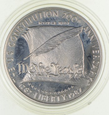 SILVER Proof 1987-S U.S. Constitution Bicentennial Commemorative US Silver Dollar - 90% Silver - Collectible
