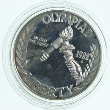 SILVER Proof 1988-S Seoul Olympiad Commemorative US Silver Dollar - 90% Silver - Collectible