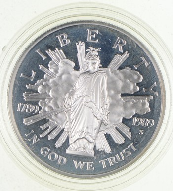 SILVER Proof 1989-S Congress Bicentennial Commemorative US Silver Dollar - 90% Silver - Collectible