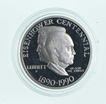 SILVER Proof 1990-P Eisenhower Centennial Commemorative US Silver Dollar - 90% Silver - Collectible