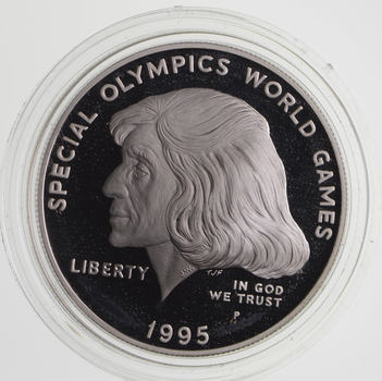 SILVER Proof 1995-P Special Olympic World Games Commemorative US Silver Dollar - 90% Silver - Collectible