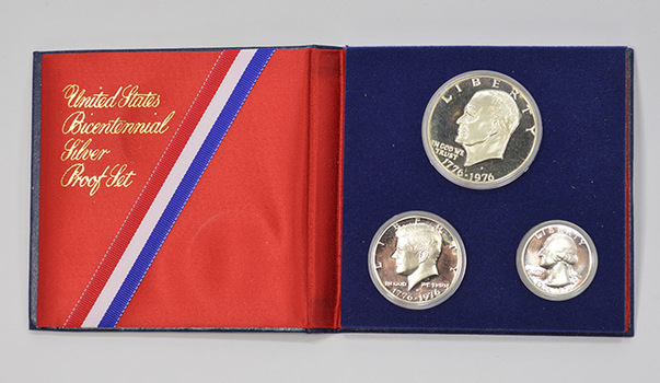 Silver PROOF 3 Piece 1976-S U.S. Bicentennial Coin Collection with Commemorative Album - .400 Fine SILVER