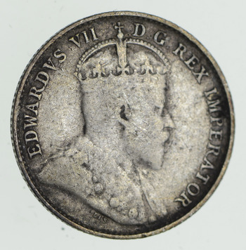 SILVER - Roughly the Size of a Dime - 1902 Canada 5 Cents - World Silver Coin