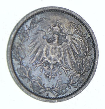 SILVER - Roughly the Size of a Dime - 1918 Germany 1/2 Mark - World Silver Coin