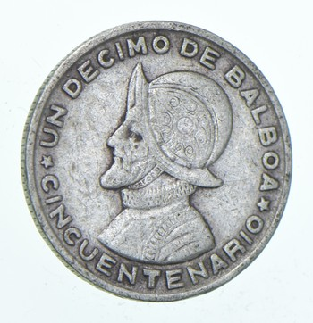 SILVER - Roughly the Size of a Dime - 1953 Panama 1/10 Balboa - World Silver Coin
