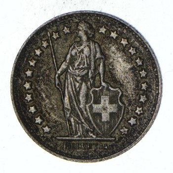 SILVER - Roughly the Size of a Dime - 1956 Switzerland 1/2 Franc - World Silver Coin