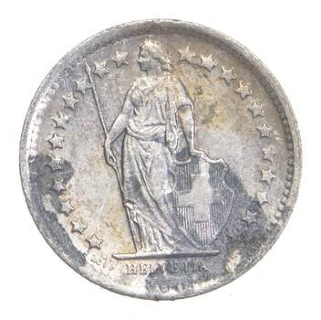 SILVER - Roughly the Size of a Dime - 1965 Switzerland 1/2 Franc - World Silver Coin