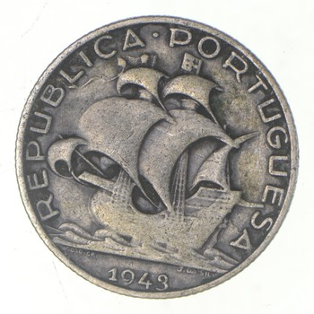 SILVER - Roughly the Size of a Nickel - 1943 Portugal 2.50 Escudos - World Silver Coin