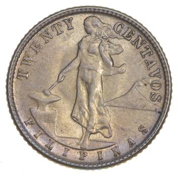 SILVER - Roughly the Size of a Nickel - 1944 Philippines 20 Centavos - World Silver Coin