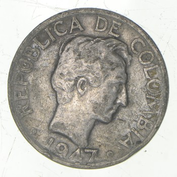 SILVER - Roughly the Size of a Nickel - 1947 Colombia 20 Centavos - World Silver Coin