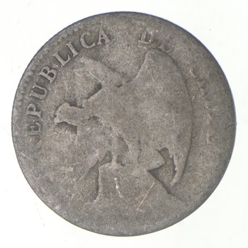 SILVER - Roughly the Size of a Nickel - Early 1900s Chile 20 Centavos - World Silver Coin