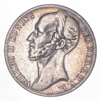 SILVER - Roughly the Size of a Quarter - 1848 Netherlands 1 Gulden - World Silver Coin