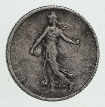 SILVER - Roughly the Size of a Quarter 1916 France 1 Franc - World Silver Coin 5.1 Grams!