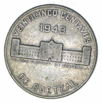 SILVER - Roughly the Size of a Quarter 1943 Guatemala 25 Centavos - World Silver Coin 8.3 Grams