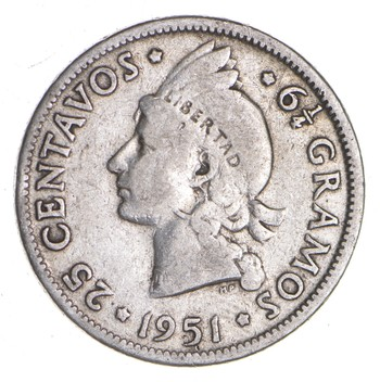 SILVER - Roughly the Size of a Quarter 1951 Dominican Republic 25 Centavos - World Silver Coin