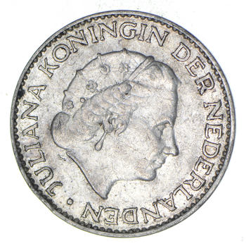 SILVER - Roughly the Size of a Quarter 1958 Netherlands 1 Gulden - World Silver Coin 6.4 Grams