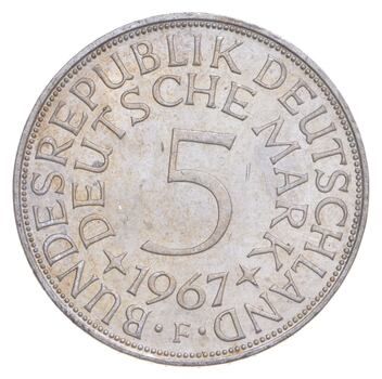 SILVER - Roughly the Size of a Quarter - 1967 Germany 5 Deutsche Mark - World Silver Coin