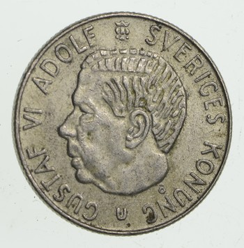 SILVER - Roughly the Size of a Quarter 1968 Sweden 1 Krona - World Silver Coin 6.9 Grams!
