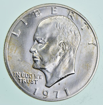 Silver - SPECIALLY MINTED - S Mint Mark - 1971-S - 40% Eisenhower Silver Dollar - RARE
