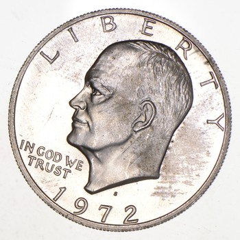 Silver - SPECIALLY MINTED - S Mint Mark - 1972-S - 40% Eisenhower Silver Dollar - RARE