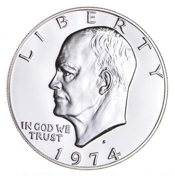 Silver - SPECIALLY MINTED - S Mint Mark - 1974 -S - 40% Eisenhower Silver Dollar - RARE