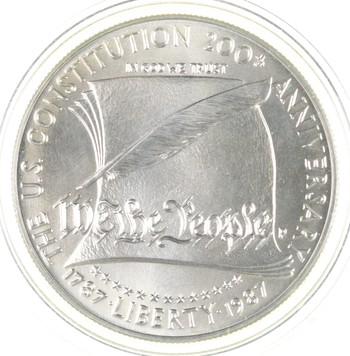 SILVER Unc 1987-P U.S. Constitution Bicentennial Commemorative US Silver Dollar - 90% Silver - Collectible