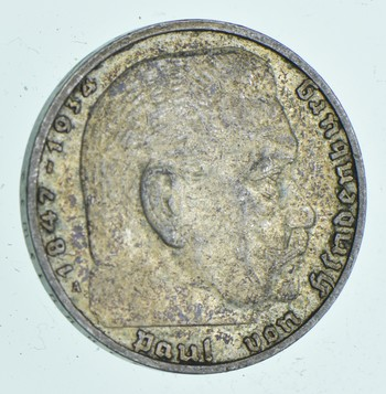 SILVER - WORLD Coin - 1937 Germany 2 Reichsmark - World Silver Coin 7.9 Grams!