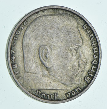 SILVER - WORLD Coin - 1938 Germany 2 Reichsmark - World Silver Coin 7.9 Grams!
