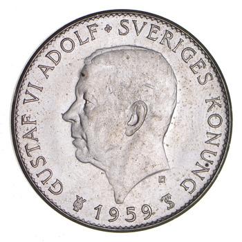 SILVER - WORLD Coin - 1959 Sweden 5 Kronor - World Silver Coin 18.4 Grams!