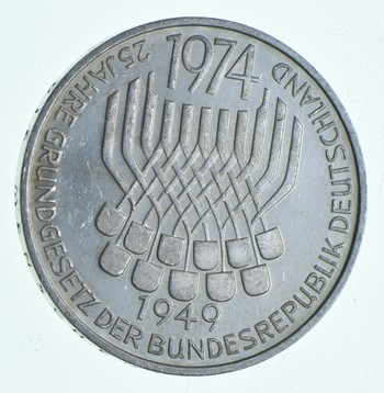 SILVER - WORLD Coin - 1974 Germany 5 Mark - World Silver Coin 11.1 Grams!