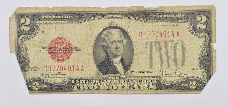 Snyder 1928-G $2.00 Red Seal Legal Tender United States Note