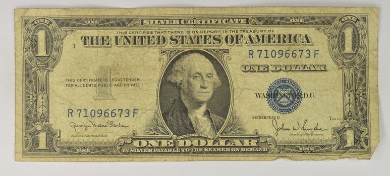 Snyder Series 'D' Silver Certificate BLUE $1.00 Bill