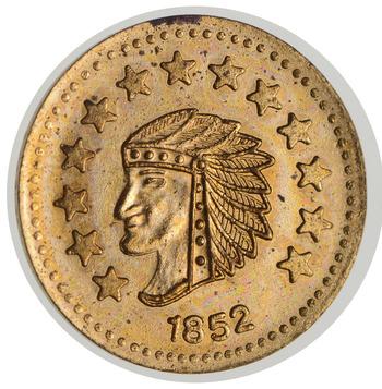 Souvenir Tribute Token - 1852 Indian Head Round - California Gold Rush