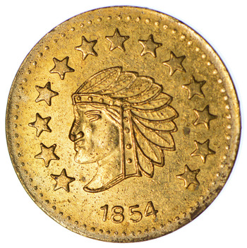 Souvenir Tribute Token - 1854 Indian Head Round - California Gold Rush