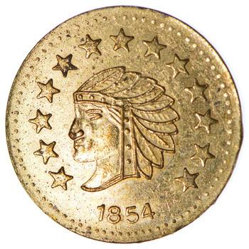 Souvenir Tribute Token - 1854 Indian Head Round - California Gold Rush