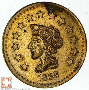 Souvenir Tribute Token - California Gold Rush - 1858 Liberty Head