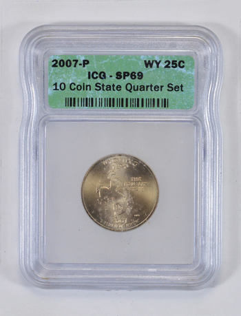 SP69 2007-P Wyoming State Quarter - Graded ICG - Graded Slabs
