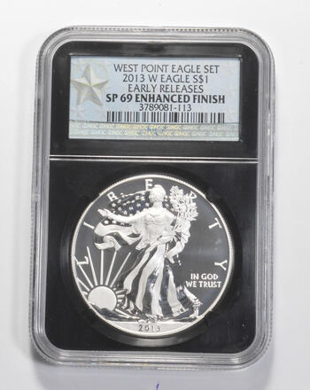 SP69 ENHANCED FINISH 2013-W American Silver Eagle - Early Releases - Graded NGC