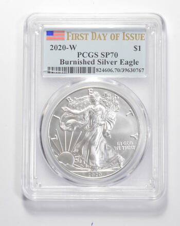 SP70 2020-W American Silver Eagle - Burnished - First Day Issue - Graded PCGS