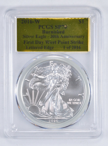 SP70 Burnished First Day 2016-W American Silver Eagle - Graded PCGS