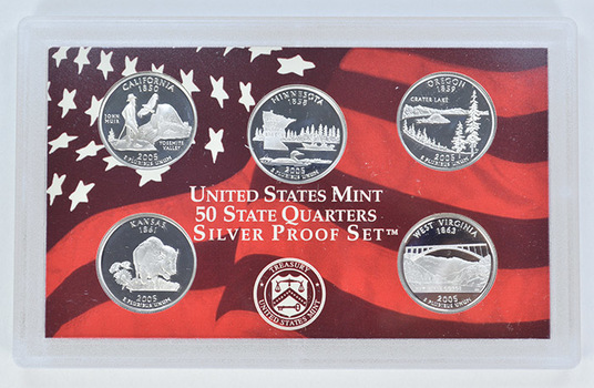 Special 90% Silver 2005-S 5 Coin State Quarter Proof Set