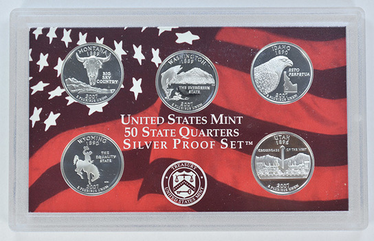 Special 90% Silver 2007-S 5 Coin State Quarter Proof Set