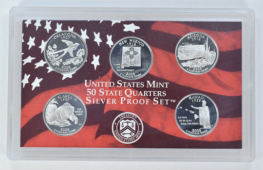 Special 90% Silver 2008-S 5 Coin State Quarter Proof Set